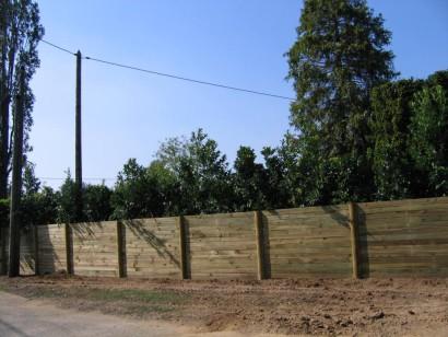 palissade bois avec plantations surélevées